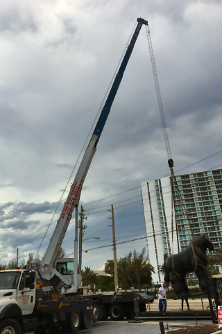 Hydraulic Crane & Rigging Services for Placing Statues & Artwork in Miami FL